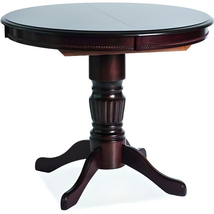 MARGU - Table de style vintage salon salle à manger - 90x90x75 cm - Plateau en bois - Piètement en bois - Extensible - Chêne