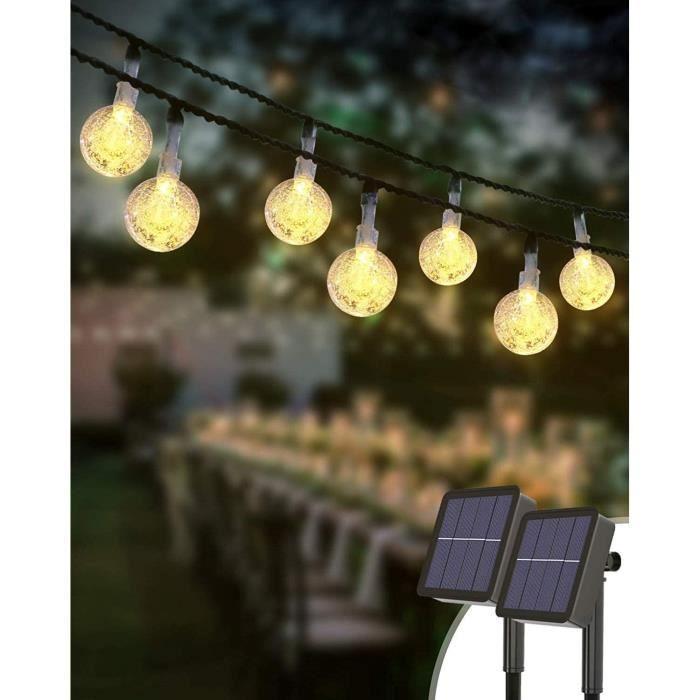 BANDE LED - RUBAN LED 2 Pack Guirlande Solaire Exterieur, Kolpop 3M 30 Led Guirlandes Lumineuses Boules Cristal 8 Modes Etanche 30