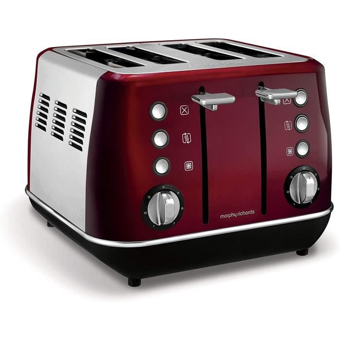 GRILLE-PAIN - TOASTER Morphy Richards Evoke GrillePain 4 Parts Rouge 850 W Evoke Evoke 4 Parts Rouge Boutons Rotatif Chine 850 W184