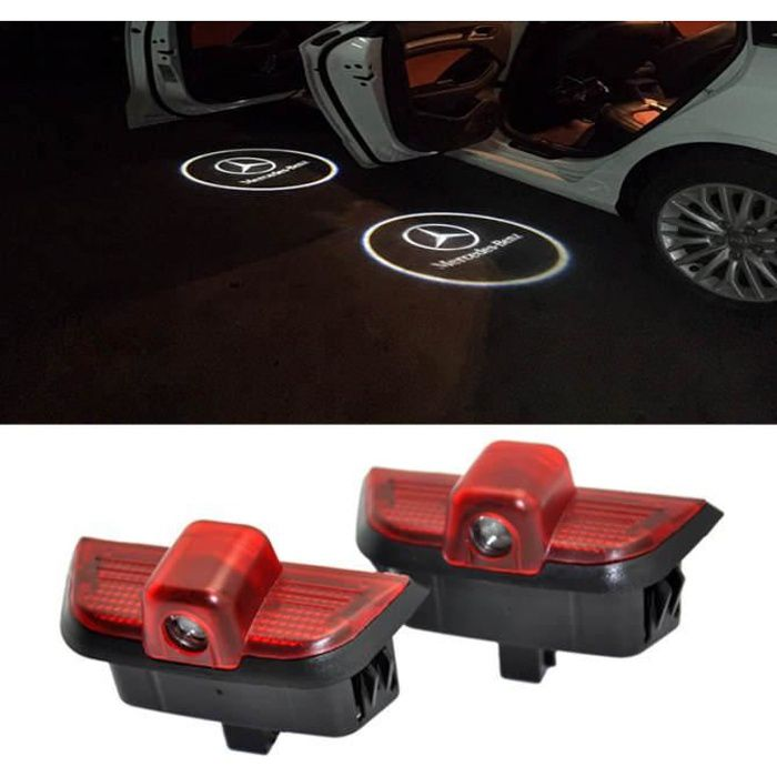 2pcs voiture de porte de voiture LED LASER projecteur lampe Ghost Shadow Logo Bienvenue pour Mercedes Benz W204 C Class C200 C300 C2