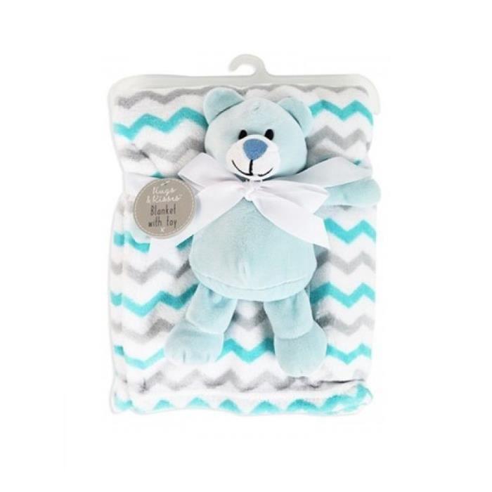 Couverture bébé + doudou ourson bleu plaid polaire garçon