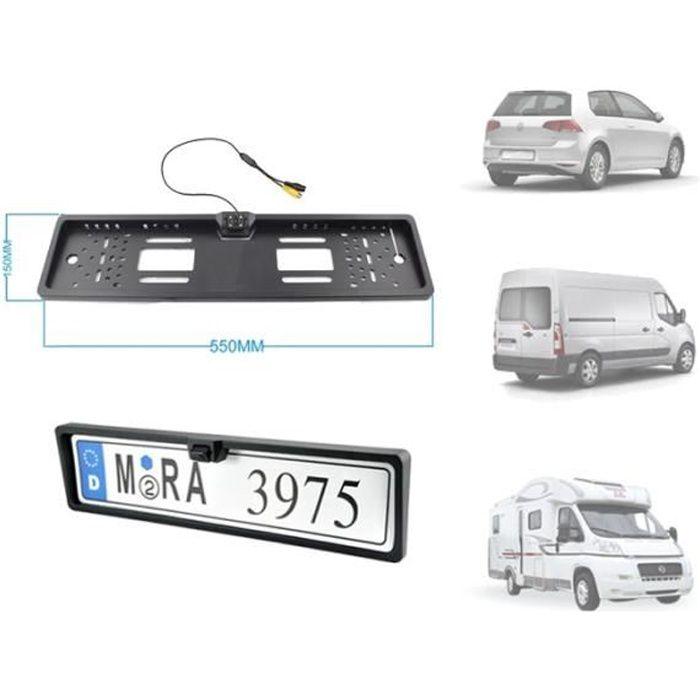 Mini Caméra voiture support plaque d'immatriculation - Fixation avant / arrière - Angle 170° LED IR Nuit - Waterproof