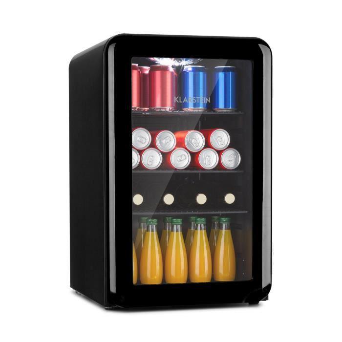 Klarstein PopLife - Réfrigérateur á boissons 70 litres , double porte vitrée, classe A+ - Design rétro noir