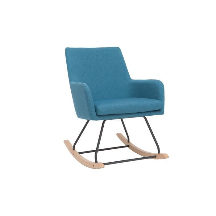 Miliboo - Rocking chair design en tissu bleu canard SHANA