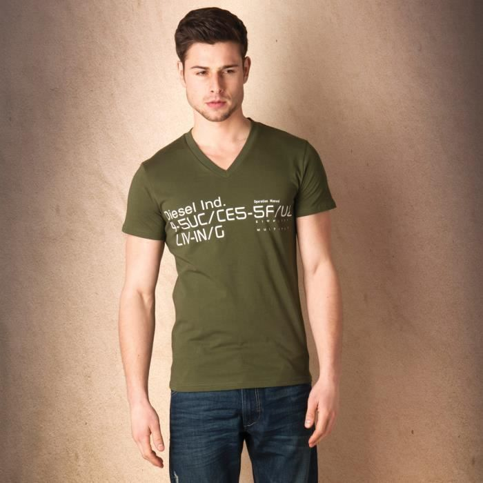 T-shirt Diesel T-Bagh pour homme en vert olive