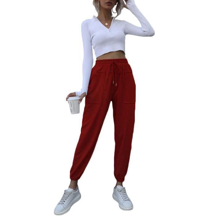 Pantalon de Jogging Extensible Léger pour Femme Pantalon de Jogging Cargo Taille Haute À Cordon avec Poches,Vin Rouge
