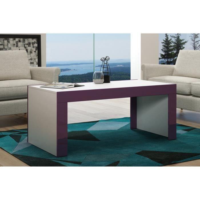 Table basse en MDF Blanche mat et bordure mûre laquée 120 cm