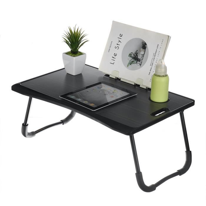 NEUFU Table de lit Tablette Ordinateur Portable - Pliable - 60x40x28cm - Noir