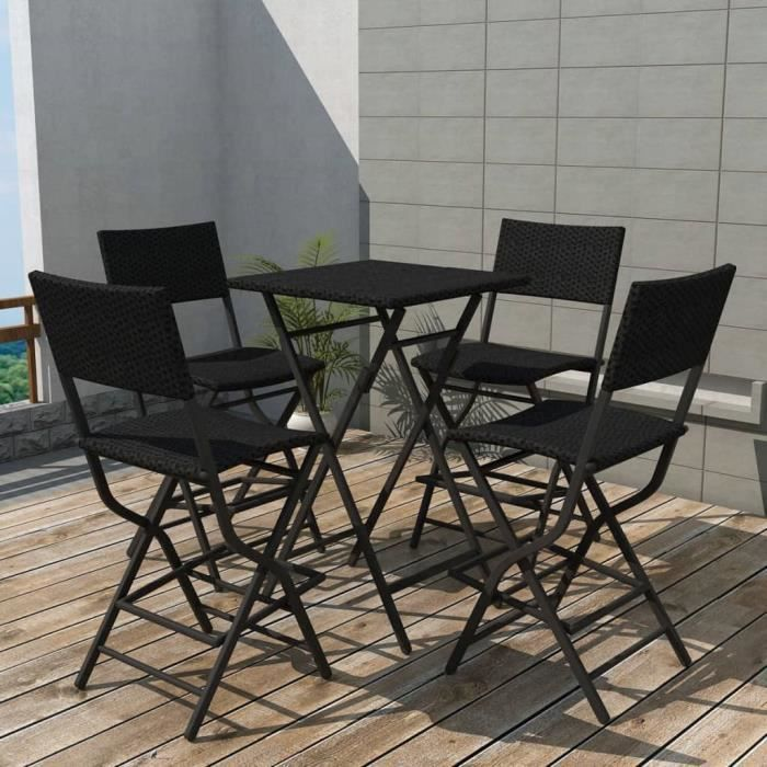 Set de mobilier de jardin salon de jarin contemporain 5 pcs Noir Résine tressée
