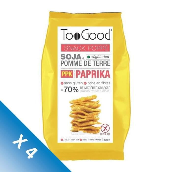 [LOT DE 4] Snack poppé saveur paprika 85 g TooGood