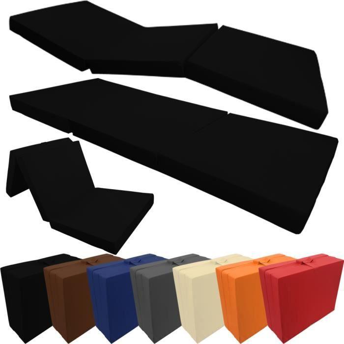 Matelas pliant Basic 195 x 65 x 8 cm en noir - Matelas d'appoint transportable avec housse en microfibre