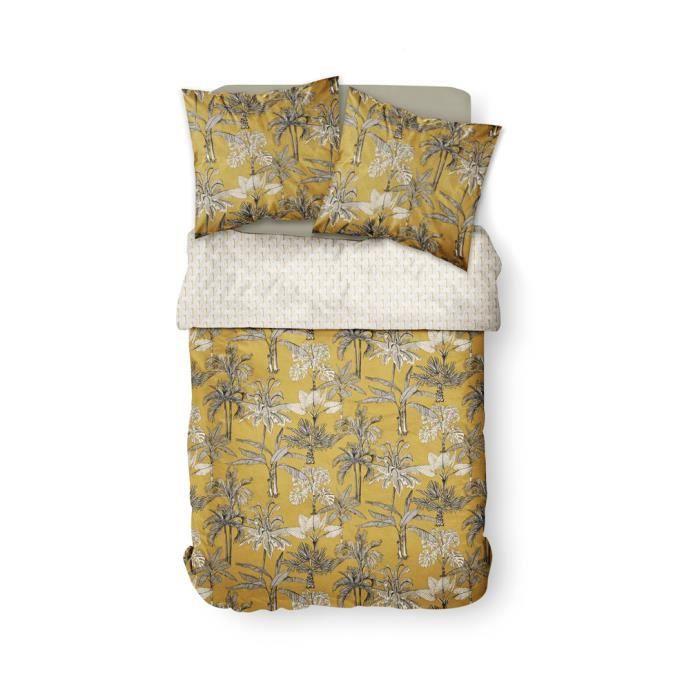 Parure de lit 2 personnes 240X260 Coton imprime jaune exotique SUNSHINE