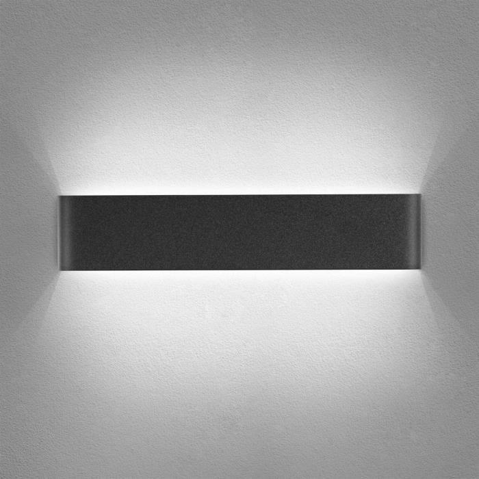 Yafido Applique Murale Interieur LED Noir 14W Lampe Murale Blanc Froid 6000K Moderne Design Luminaire Mural pour Chambre Salon