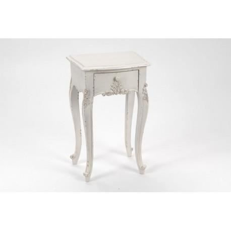table de chevet shabby chic blanc vieilli 1 tiroir gamme louise amadeus achat vente chevet. Black Bedroom Furniture Sets. Home Design Ideas