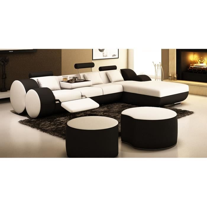 canap d 39 angle relax cuir blanc et noir rima achat vente canap sof. Black Bedroom Furniture Sets. Home Design Ideas