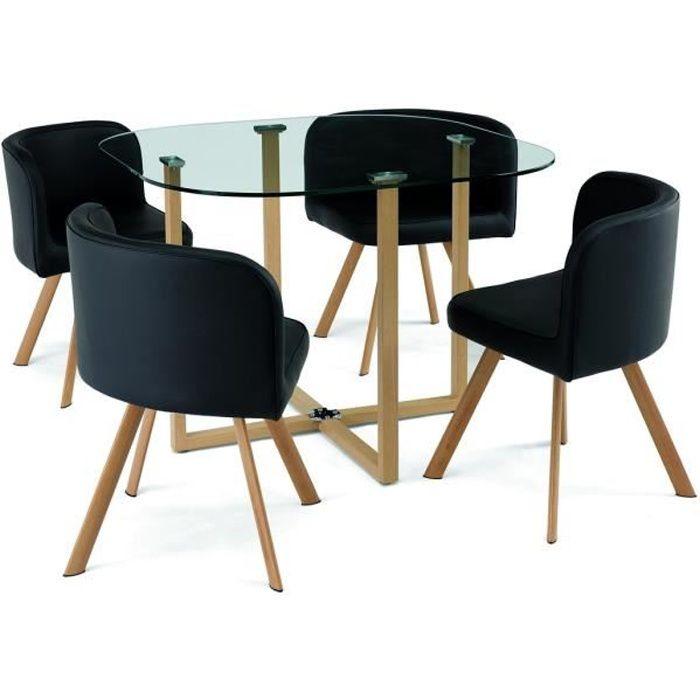 TABLE À MANGER COMPLÈTE Ensemble table + 4 chaises encastrable noir FLEN
