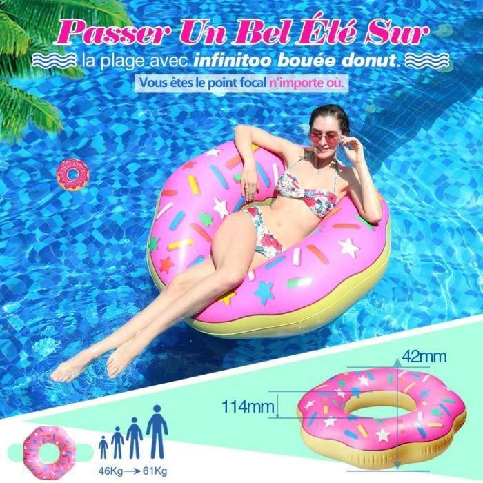 Bouée Donut Croqué Géante Gonflable Piscine Plage Matelas 107X27 cm Détente Fun