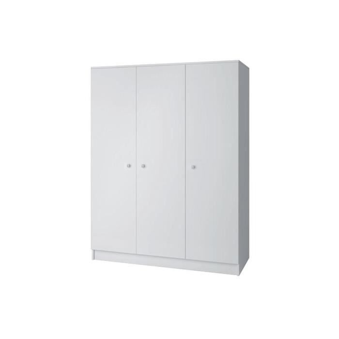 armoire blanche miko 3 portes 140 cm achat vente. Black Bedroom Furniture Sets. Home Design Ideas