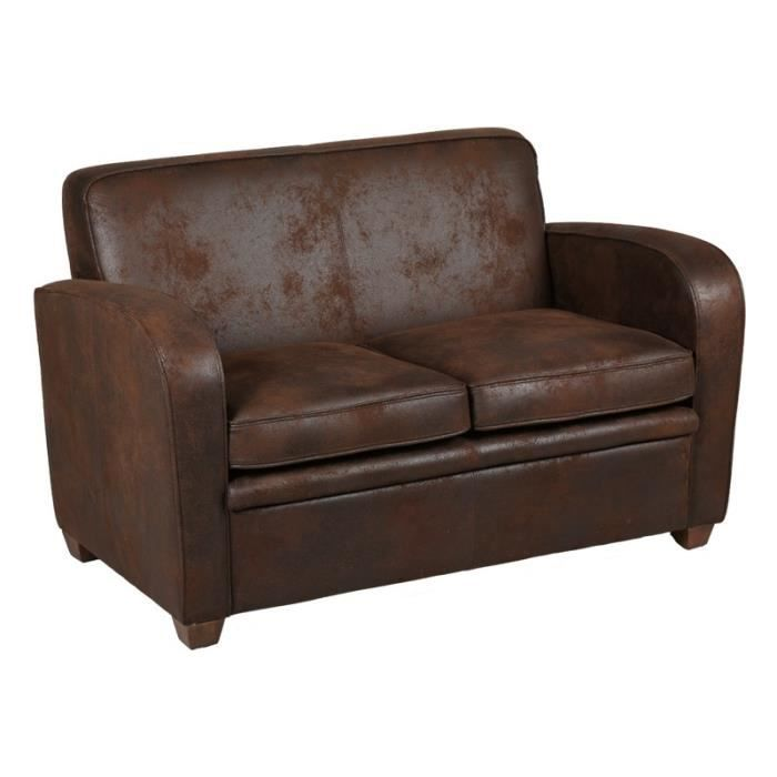 canap club 2 places marron king achat vente canap sofa divan cdiscount. Black Bedroom Furniture Sets. Home Design Ideas