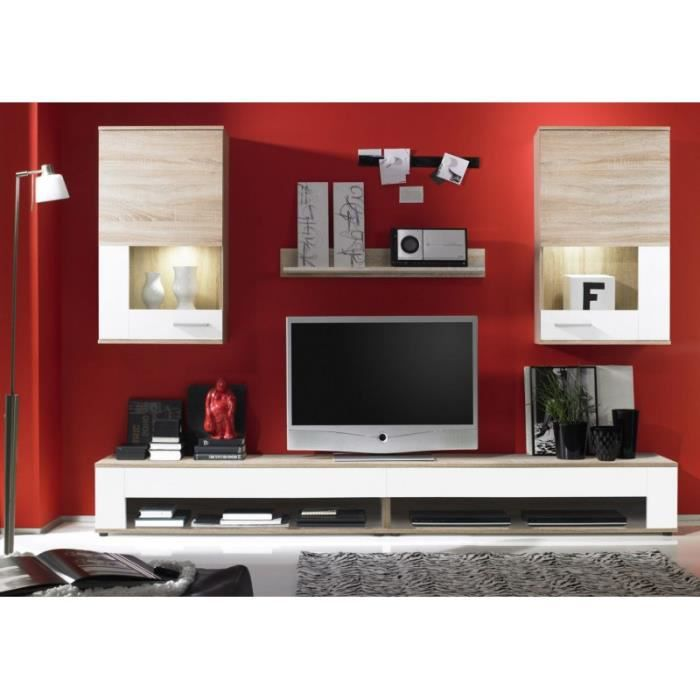 ensemble tv meuble bas 250 cm blanc et bois brut achat vente meuble tv ensemble tv meuble. Black Bedroom Furniture Sets. Home Design Ideas