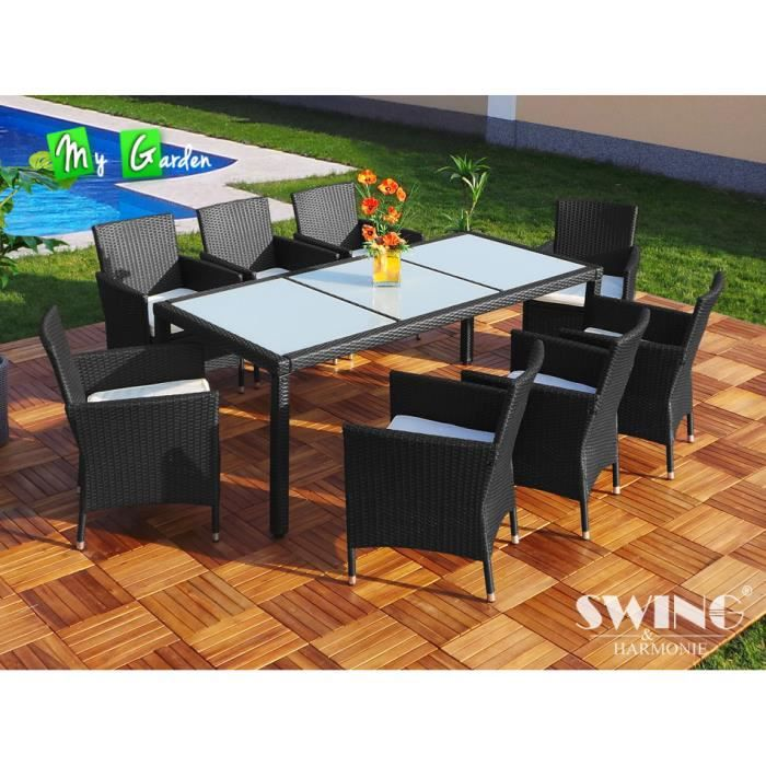 Salon de jardin table et 8 chaises en rotin synth achat for Ensemble table et chaise rotin