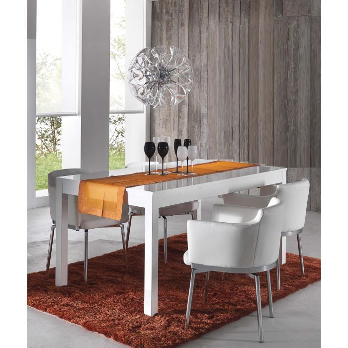 table de salle manger carlo blanc laqu achat vente. Black Bedroom Furniture Sets. Home Design Ideas