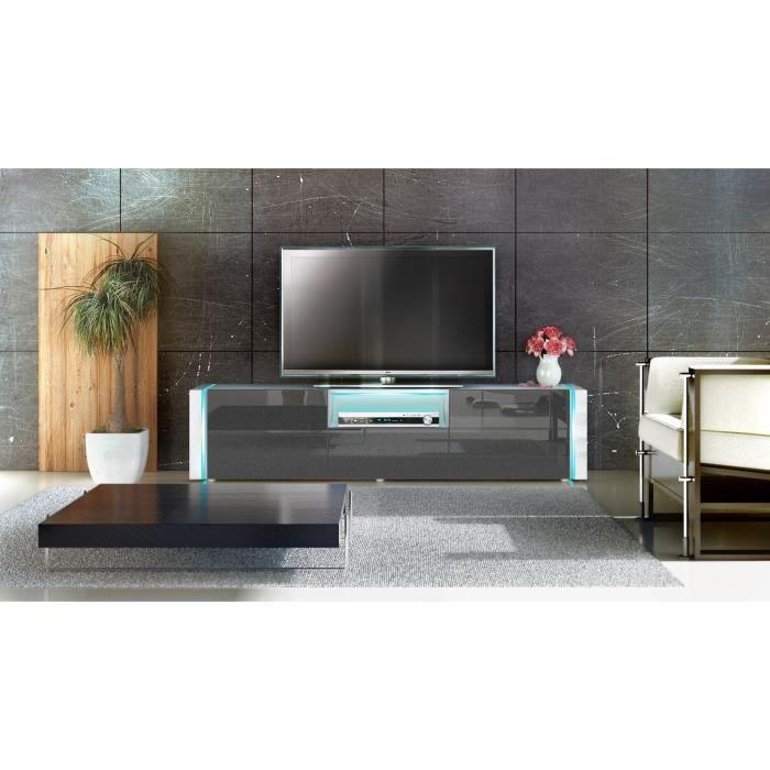 Meuble Tele Blanc Et Noir Metallique 157cm Achat Vente Meuble Tv Meuble Tele Blanc Et Noir M Cdiscount
