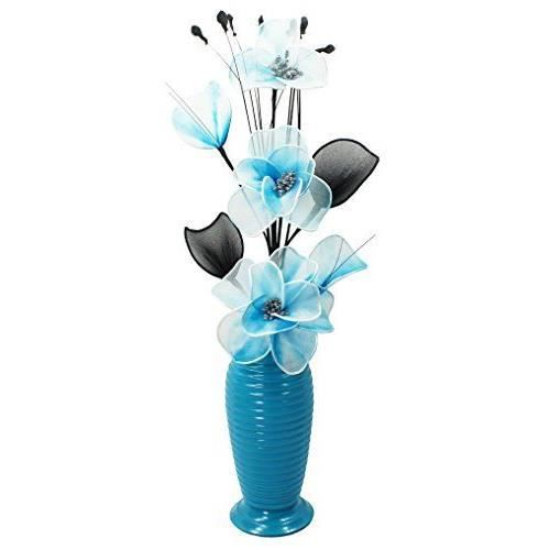 flourish vase avec 814 bleu canard fleur blanc nylon fil pais bleu sarcelle achat vente. Black Bedroom Furniture Sets. Home Design Ideas