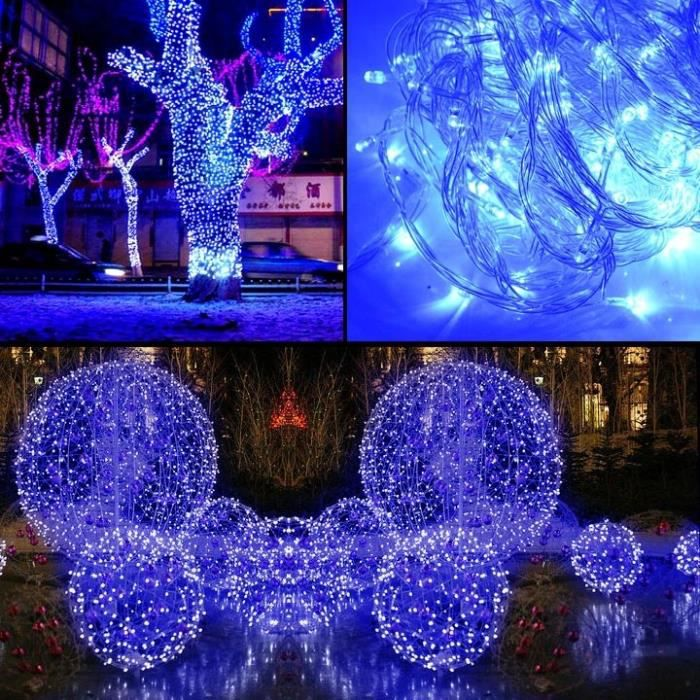 10m 100 led bleu lumi re no l f te d coration festival for Deco lumiere exterieur noel