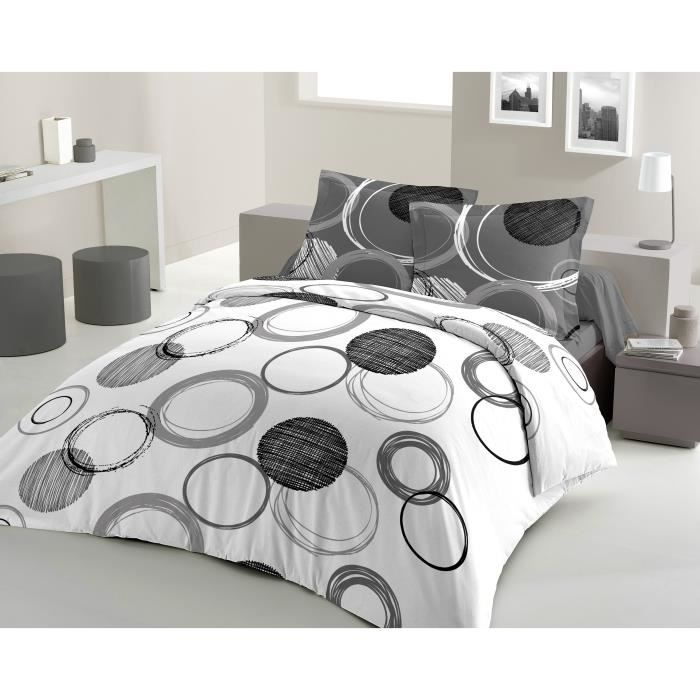 audace parure de couette 100 coton 1 housse de couette 220x240cm 2 taies 65x65cm gris. Black Bedroom Furniture Sets. Home Design Ideas
