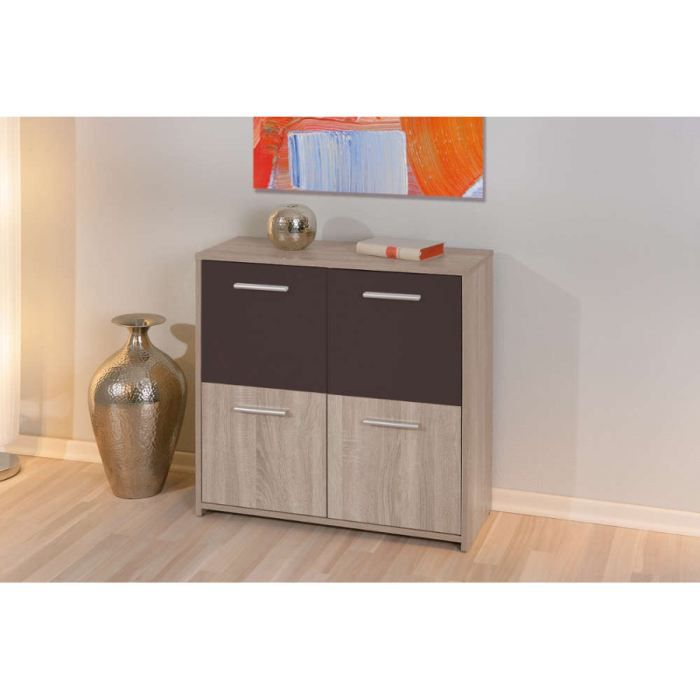 Commode 4 portes decor chene sonoma et wenge achat for Meuble bureau wenge