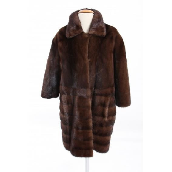 Manteau GERARD DAREL fourrure de vison Collection 2014 Marron ... d5990631e5d7