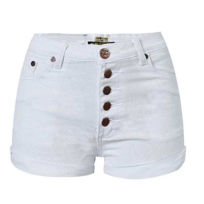 Short femme en jean taille haute blanc élastique