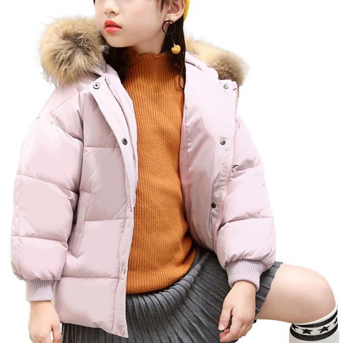 DOUDOUNE Rose Elegant Doudoune Enfant Fille à Capuche fourr