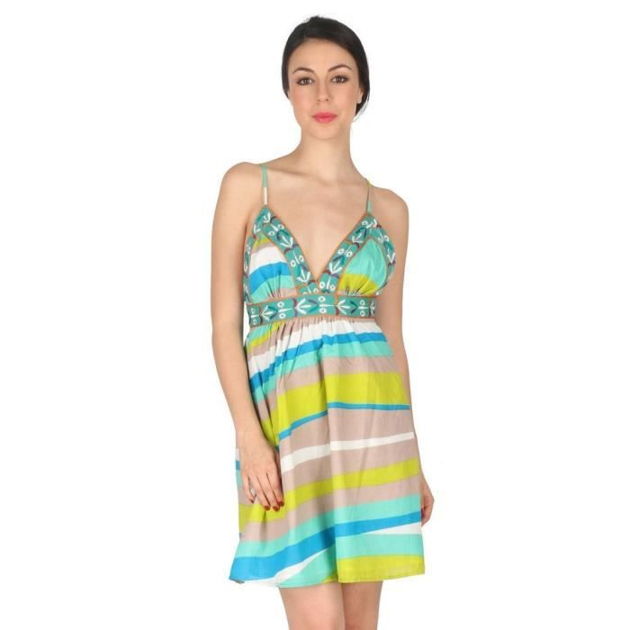 Womens Cotton Cambric Sleeveless Mini Evening Dress - Multicolor PLDWX Taille-42