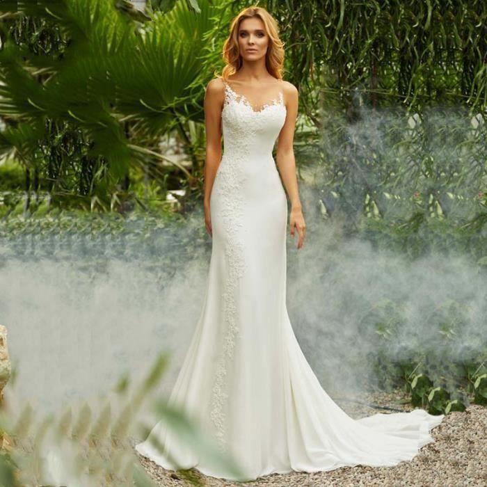 Robe de mariée bohème Appliques dentelle mousseline de soie v-cou  RétroTrailing sans manches Blanc Blanc - Achat / Vente robe de mariée -  Cdiscount