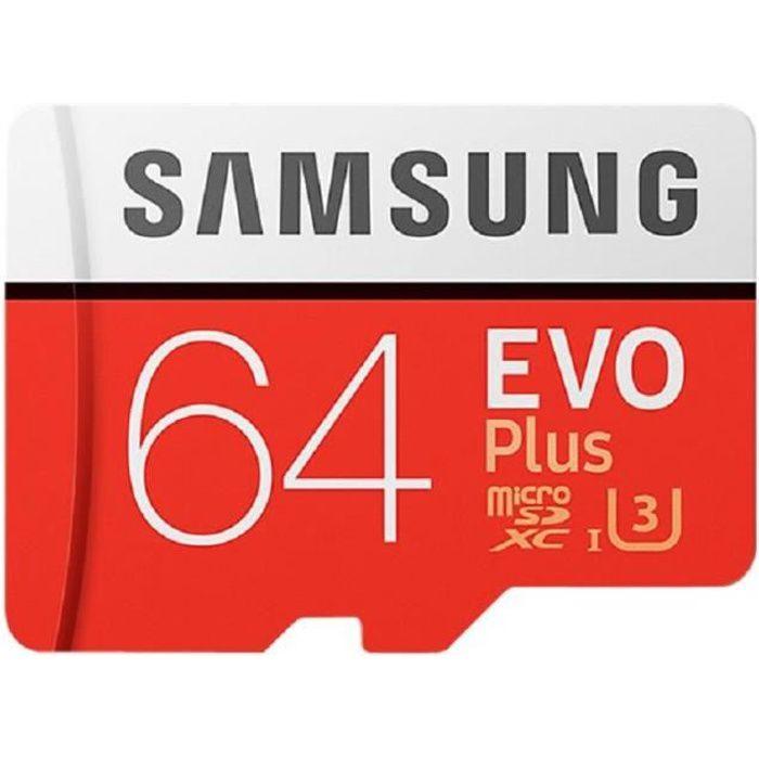 CARTE MÉMOIRE Samsung Carte Micro SD Evo Plus - 64 Go - avec ada
