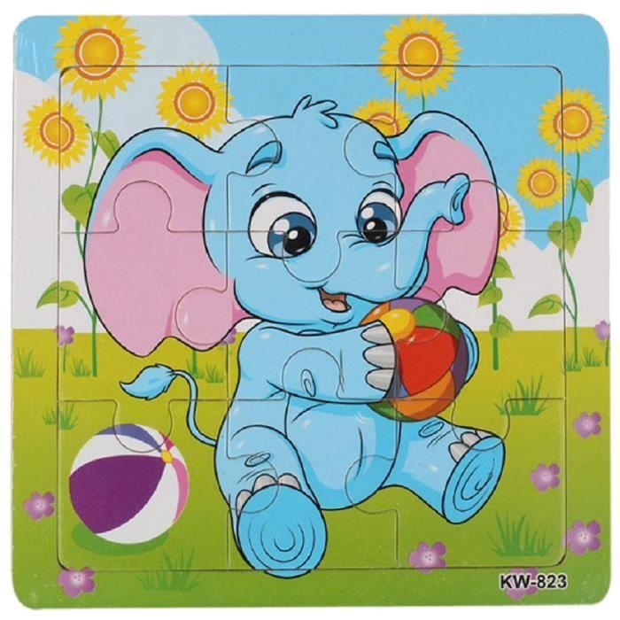PUZZLE 1 set Enfants Motif petit Elephant Puzzles en bois
