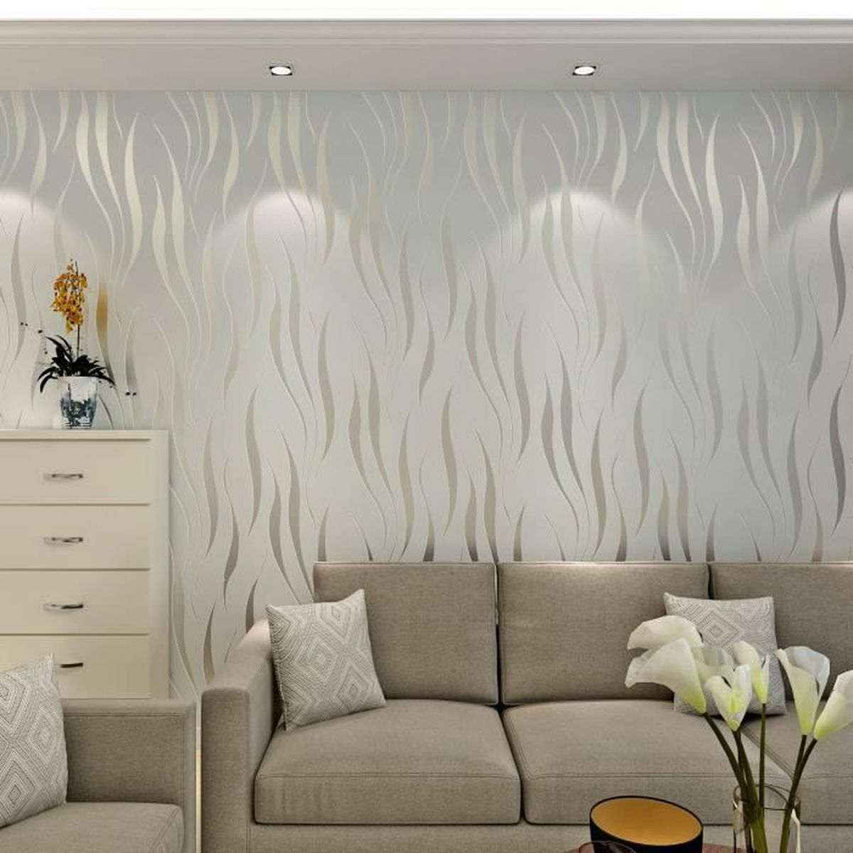 Papier Peint Pour Chambre papier peint moderne intissé motif de rayures 3d flocage