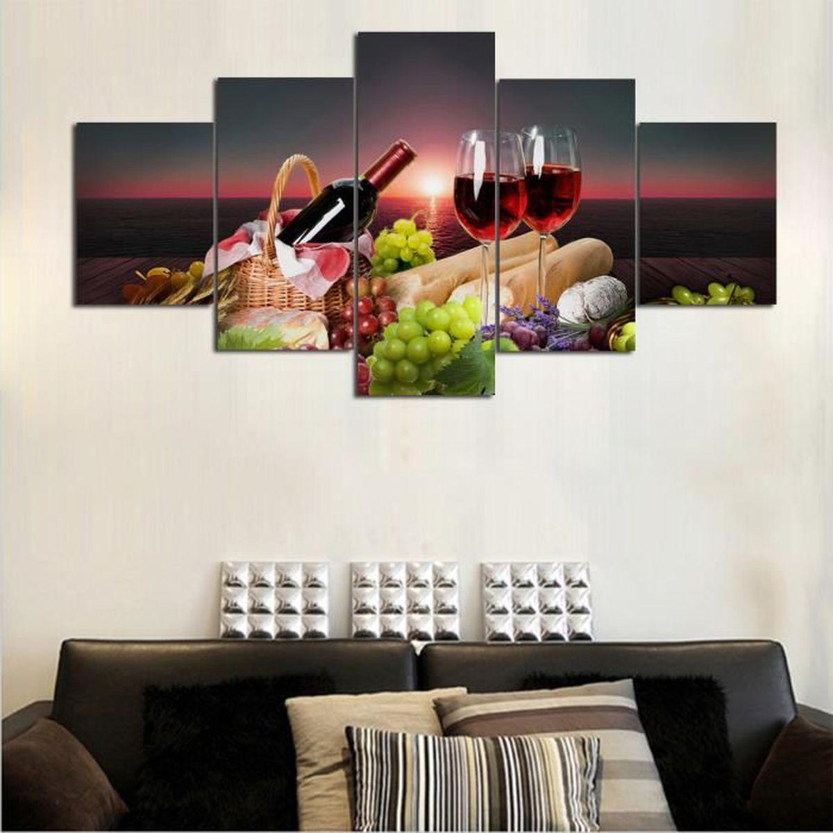 Sans cadre 16 Pièces rouge vin et fruits peinture sur toile