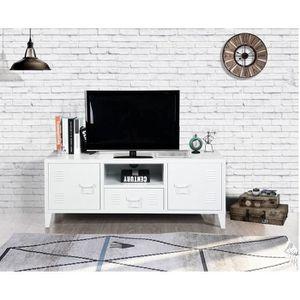 MEUBLE TV LIVERPOOL Meuble TV en métal 2 portes 1 tiroir - B