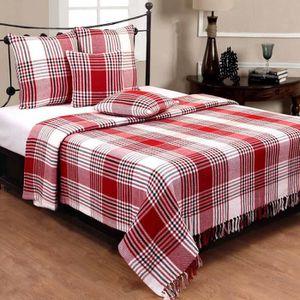 JETÉE DE LIT - BOUTIS Jeté de lit ou de canapé Tartan Rouge 250 x 360 cm