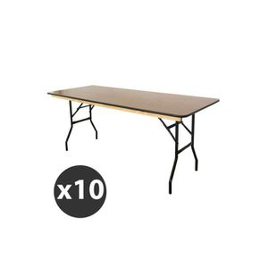 TABLE DE JARDIN Table pliante en bois 180 cm - Lot de 10 tables fd2ff56efe19