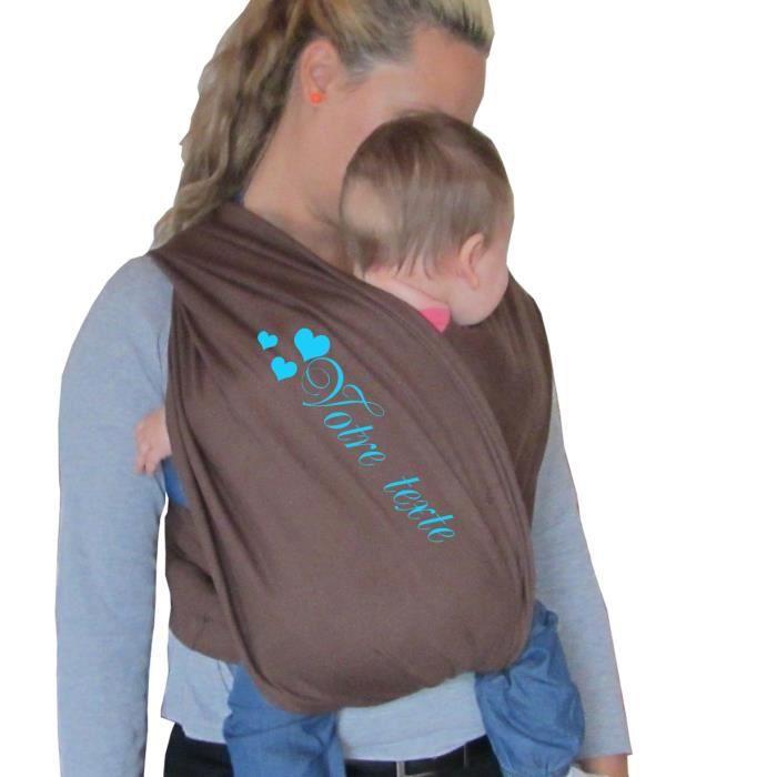Porte bébé écharpe de portage sans noeud marron réglable personnalisé prénom