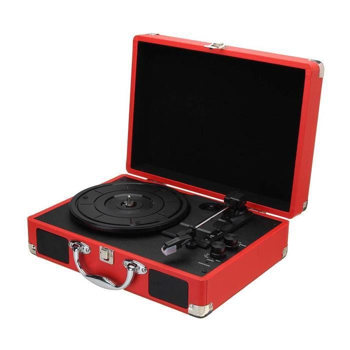 Platine Vinyle,Rétro phonographe tourne disque valise Portable tourne disque 3 vitesses Aux in MP3 tourne disque avec - Type Red