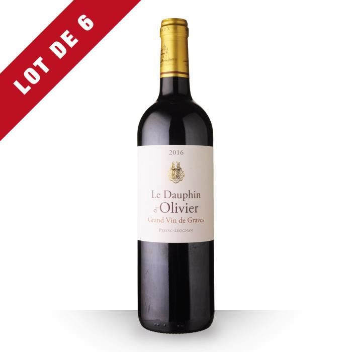 Lot de 6 - Le Dauphin d'Olivier 2016 AOC Pessac-Léognan - 6x75cl - Vin Rouge