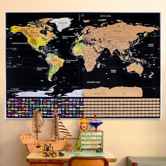 Carte du Monde à Gratter Voyage Affiche (82x59 cm), Scratch off World Map, Grattez les Endroits Que Vous Avez Visité, Décoration D'i