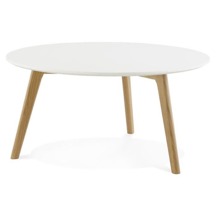 TABLE BASSE DE SALON RONDE 'GABY' STYLE SCANDINAVE