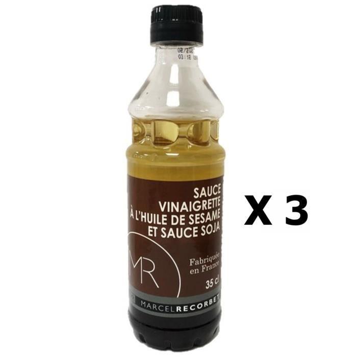 Lot 3x Sauce vinaigrette à l'huile de sésame et sauce soja - Fabriquée en France - MR - Bouteille 350ml