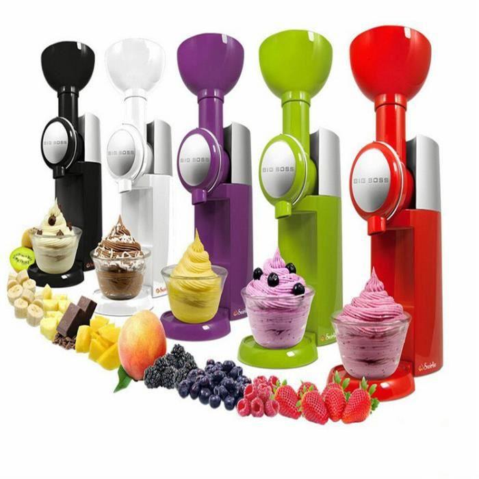 Machine à crème glacée aux fruits de ménage Mélangeur naturel de machine à crème glacée artisanale Machine à glace -rouge
